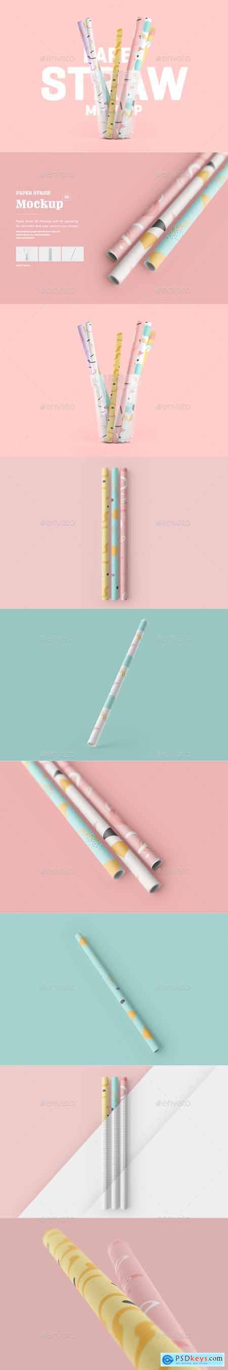 Paper Straw 3D Mockup 28589113