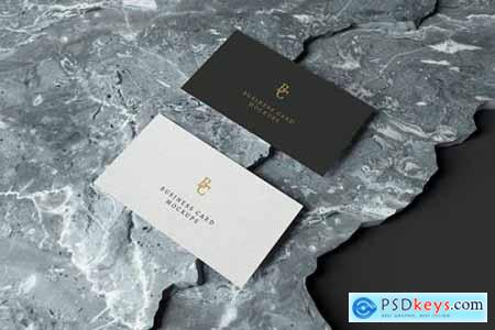 Business Card Mockup on Marble Stones