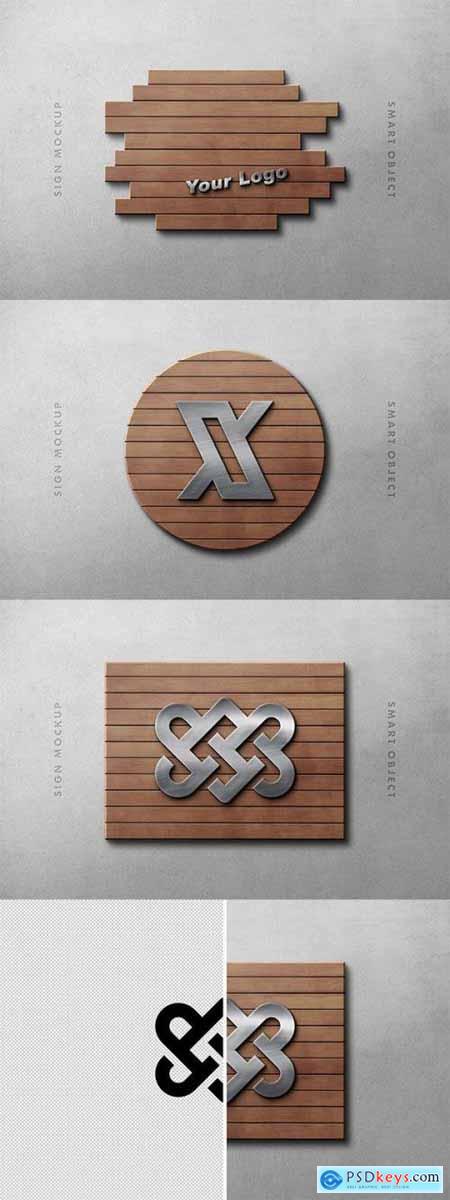 Wood Panel Logo Mockup