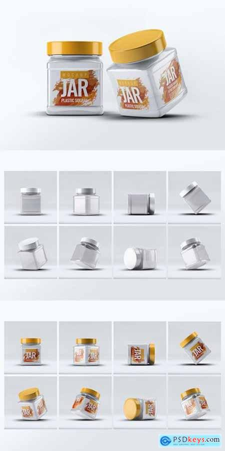 Plastic Square Jar Mock-Up