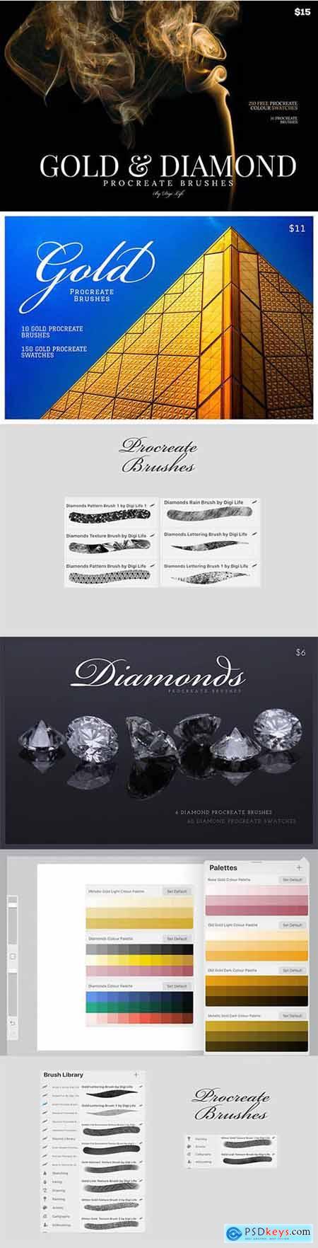 Gold & Diamonds Procreate Brushes 5459727