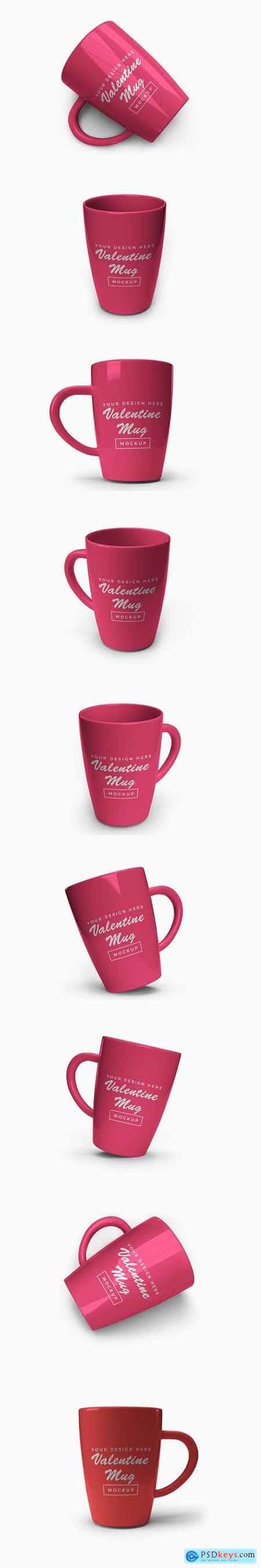 Pink valentine mug mockup