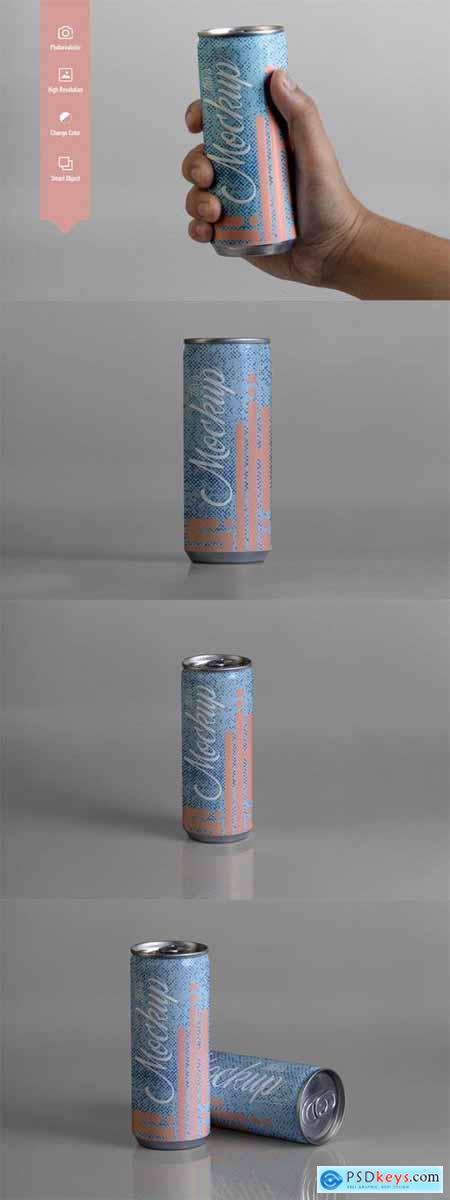 250 ml Can Slim Bottle Mockup