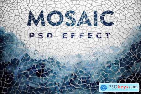 Mosaic Photo Effect Mockup
