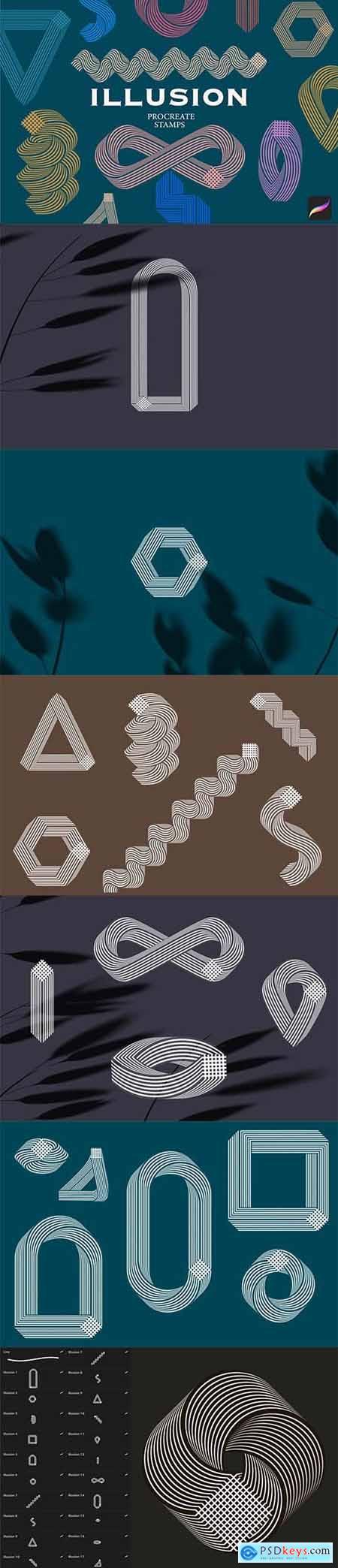 Illusion Procreate stamps 5748239