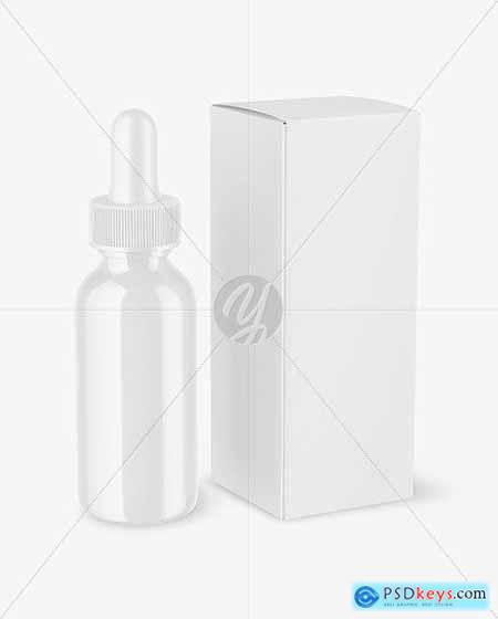 Glossy Dropper Bottle with Paper Box Mockup 72759