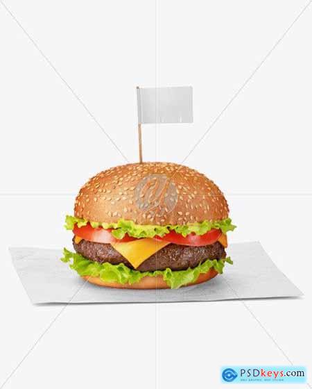 Burger on Paper Sheet Mockup 73187