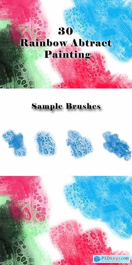 30 Rainbow Abtract Painting Brushes