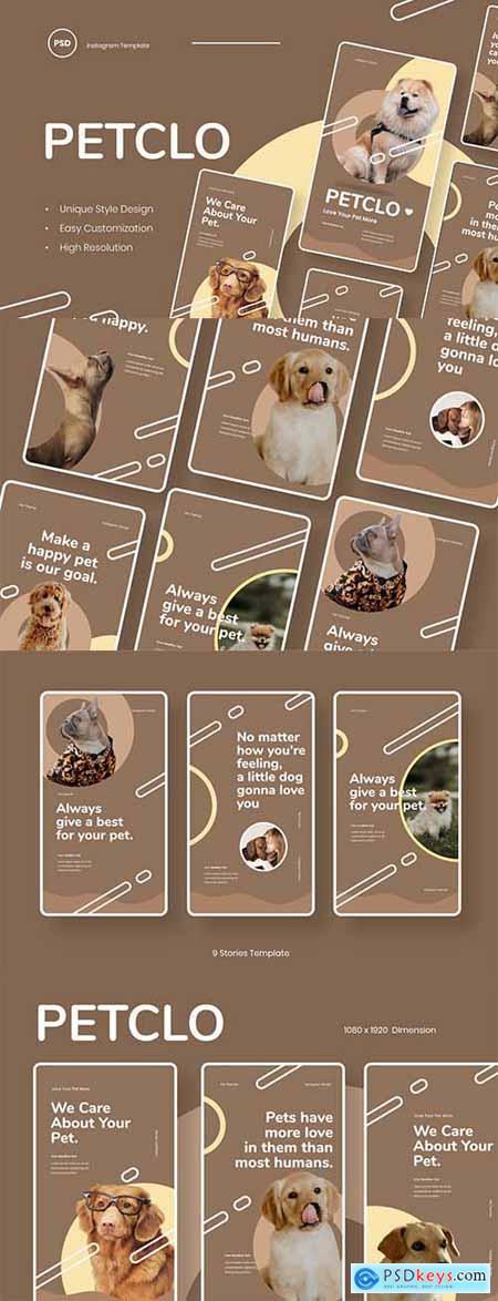 Petclo - Pet Animal Instagram Stories Template