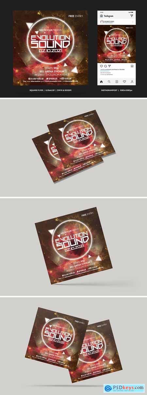 Evolutiom Sound Square Flyer & Insta Post