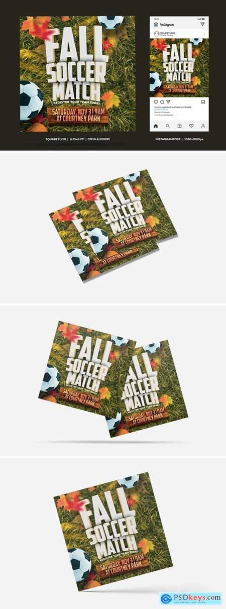 Fall Soccer Match Square Flyer & Insta Post