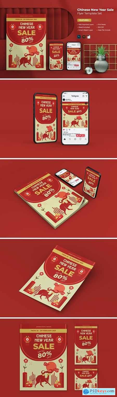 Chinese New Year Sale Flyer Set