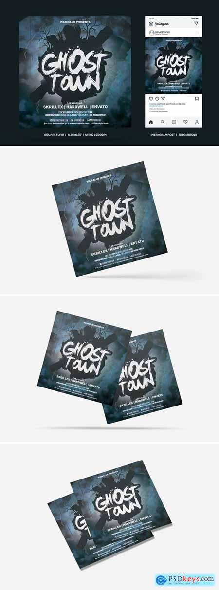 Ghost Town Square Flyer & Insta Post