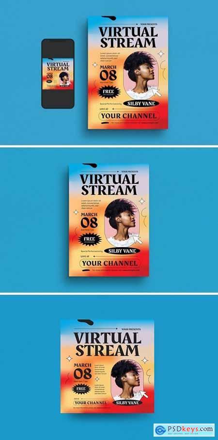 Virtual Stream Event Flyer Set