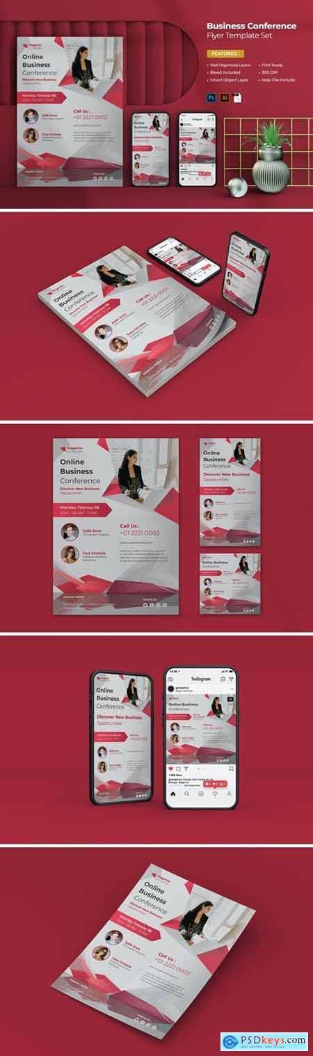 Online Business Conference Flyer Set