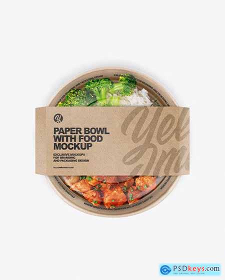 Paper Bowl with Food Mockup 73076