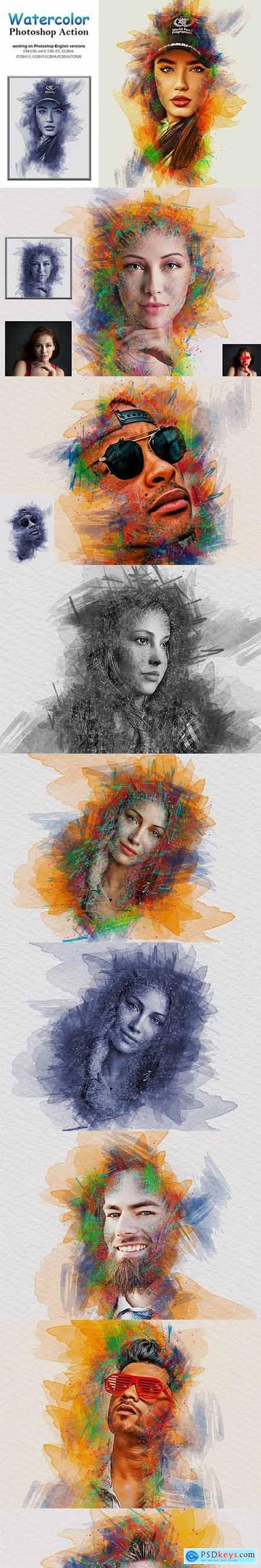 Watercolor Photoshop Action 5232780