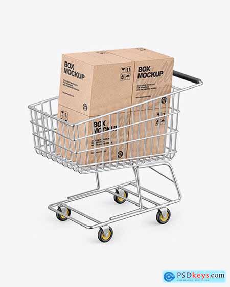 Shopping Cart W- 4 Kraft Boxes Mockup 73148