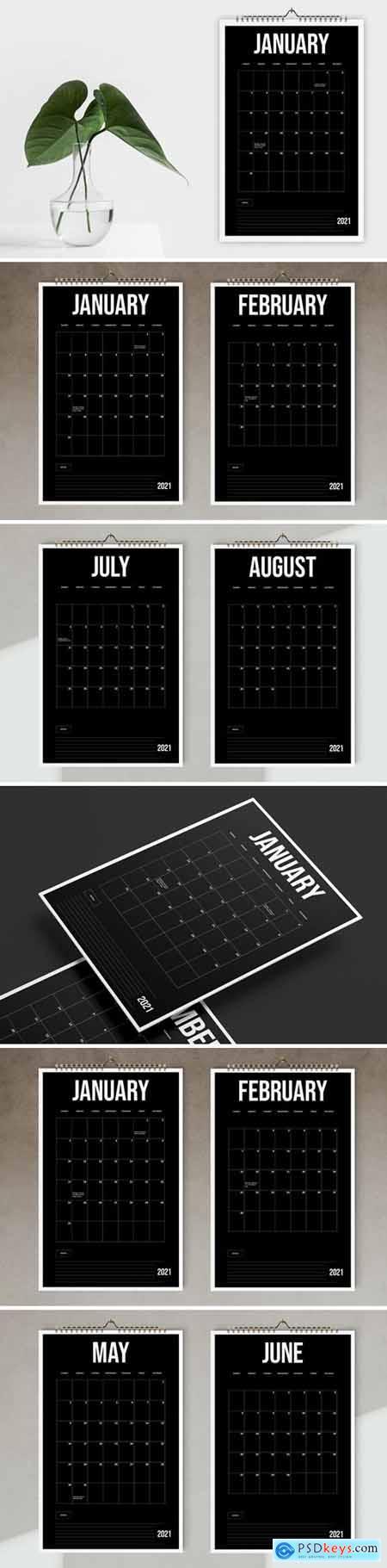 Black Wall Calendar 2021 Template