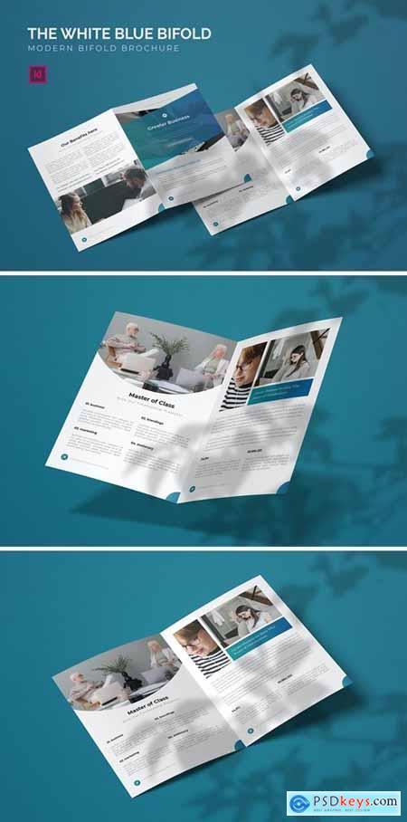 White Blue - Bifold Brochure