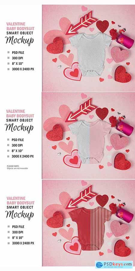 Baby Valentine Bodysuit Shirt Mockup Flatlay