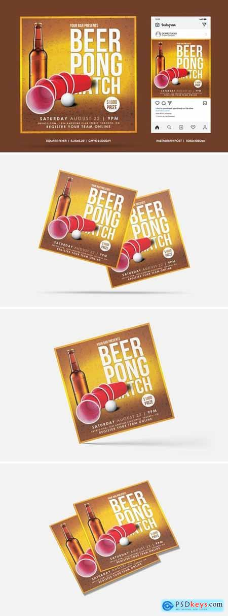 Beer Pong Party Square Flyer & Insta Post