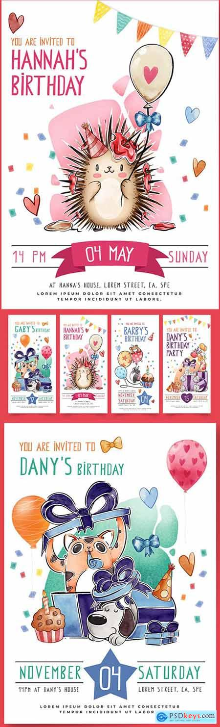 Childrens template greeting card and instagram stories on birthday