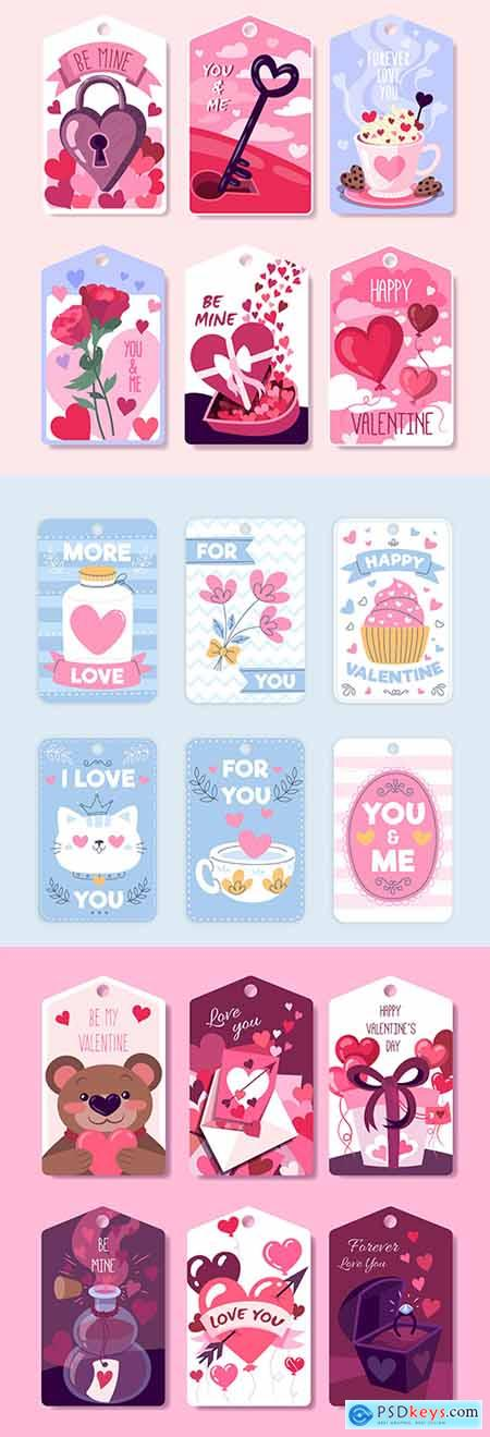 Valentines Day design collection romantic stickers