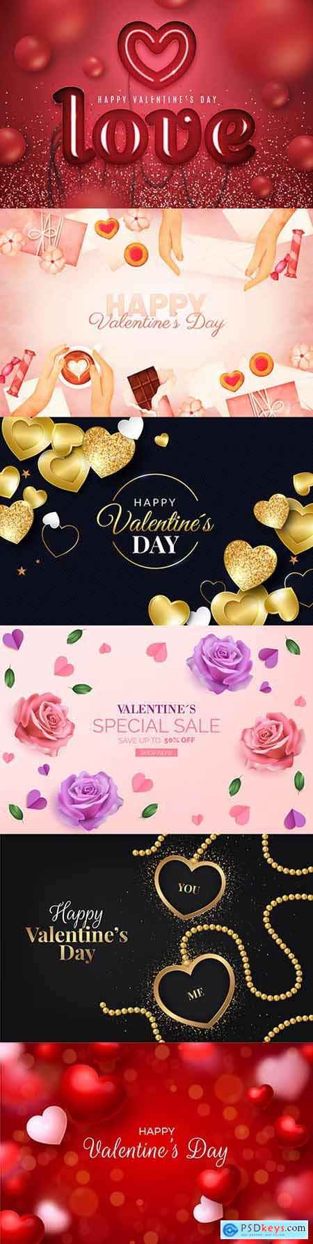Valentines Day sale and background with heart of gold 3