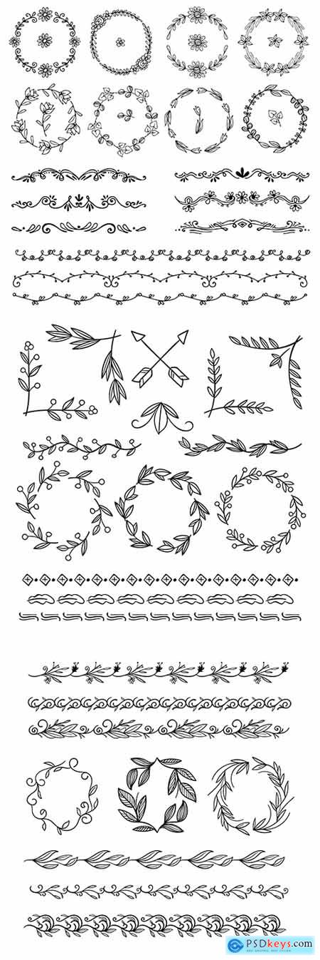 Decorative hand-drawn flowers and patterns elements