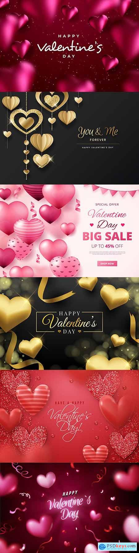 Valentines Day sale and background with heart of gold 2