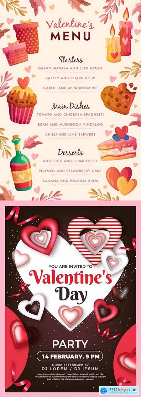 Valentines Day poster template for party and menu design