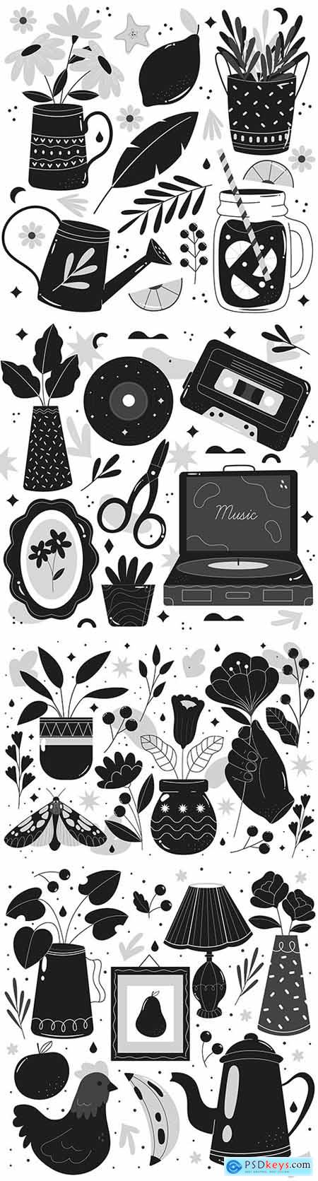 Objects and flowers painted colorless illustrations