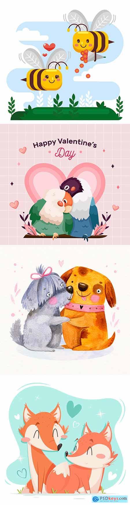 Valentines Day romantic pair cartoon animal illustration