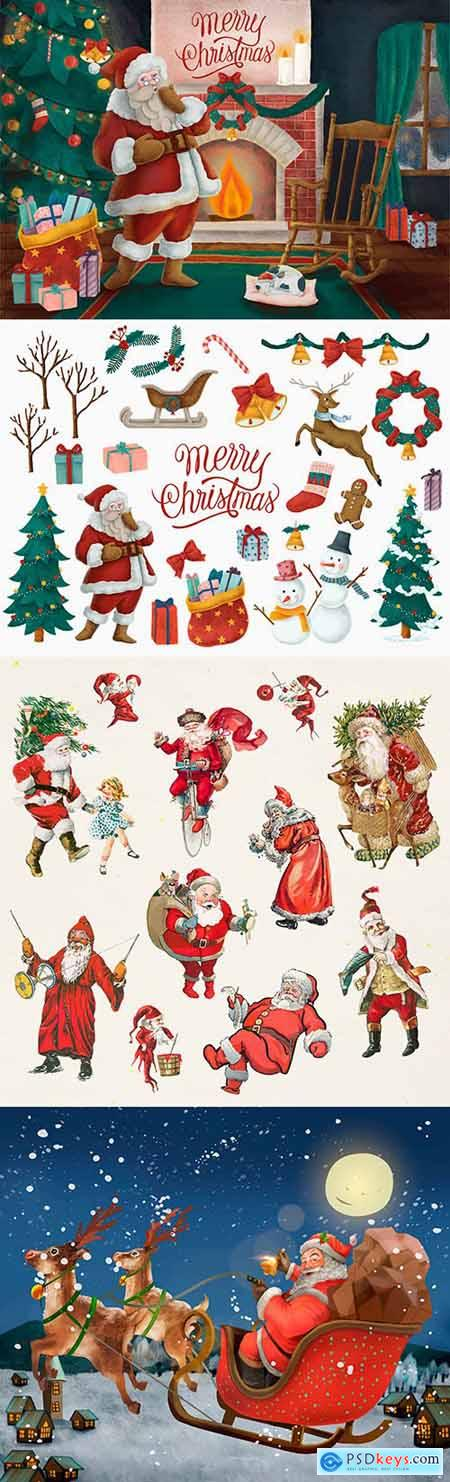 Merry Christmas Santa with gifts painted design