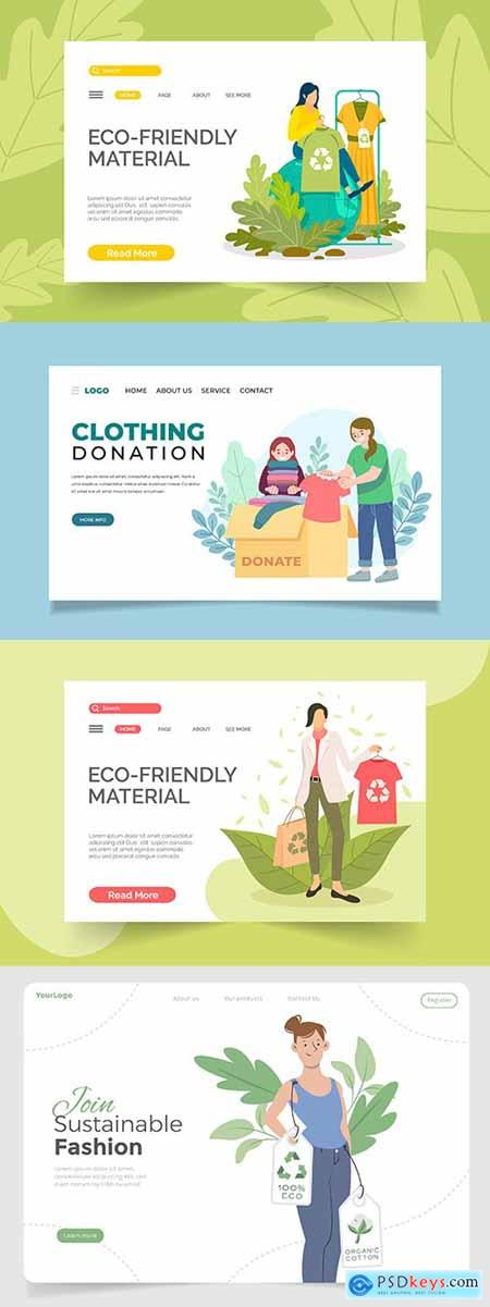 Painted fashion eco template and dress donation landing page