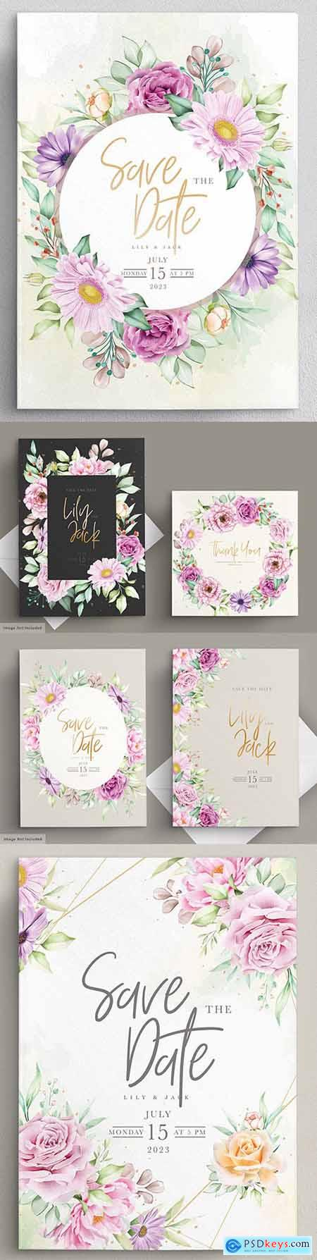 Set beautiful watercolor flowers wedding cards and invitations
