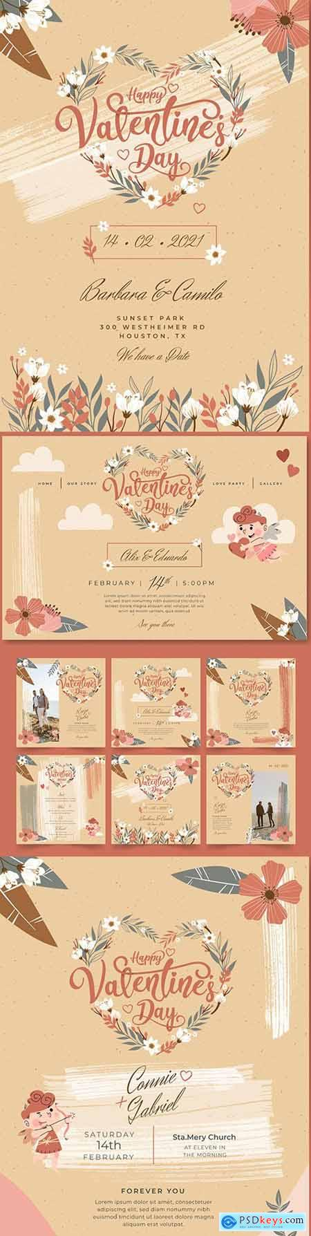Valentines Day postcard and instagram messages