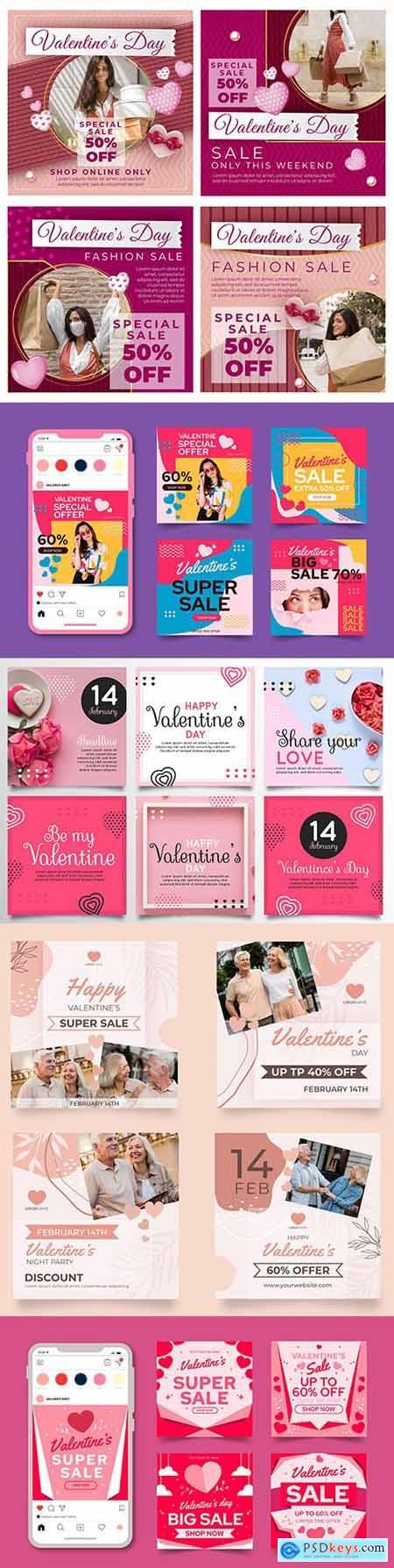 Valentines Day collection posts on instagram design