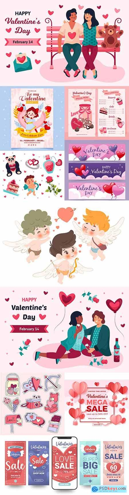 Valentines Day sale and collection element design