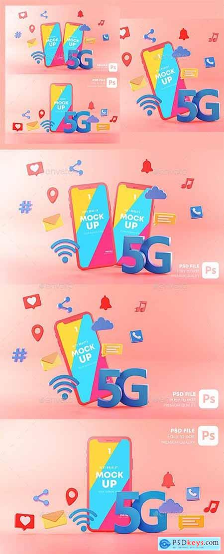 5G Phone Concept Wifi Connection on Pink Background With Icons 3D Rendering Mockup Template 29902902