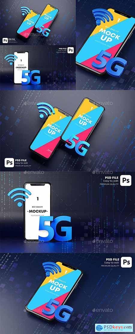 Smartphone Mockup Hologram Dark Background Technology Concept 3D Rendering 29902887