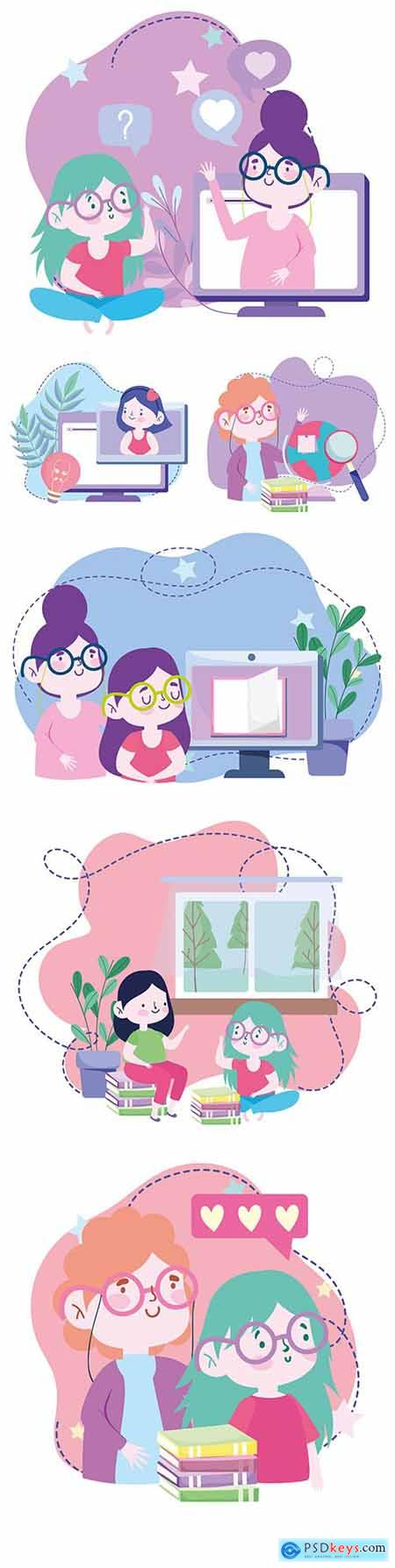 Online education and homework painted flat illustrations