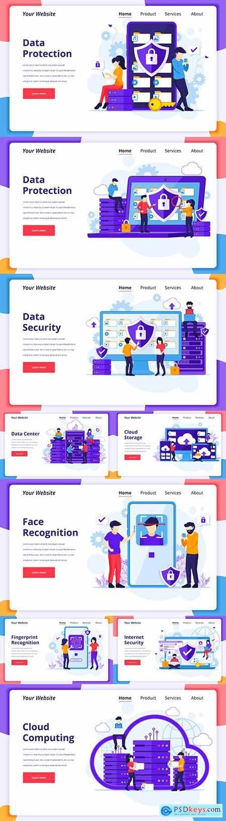 Business people and online technology flat design landing page