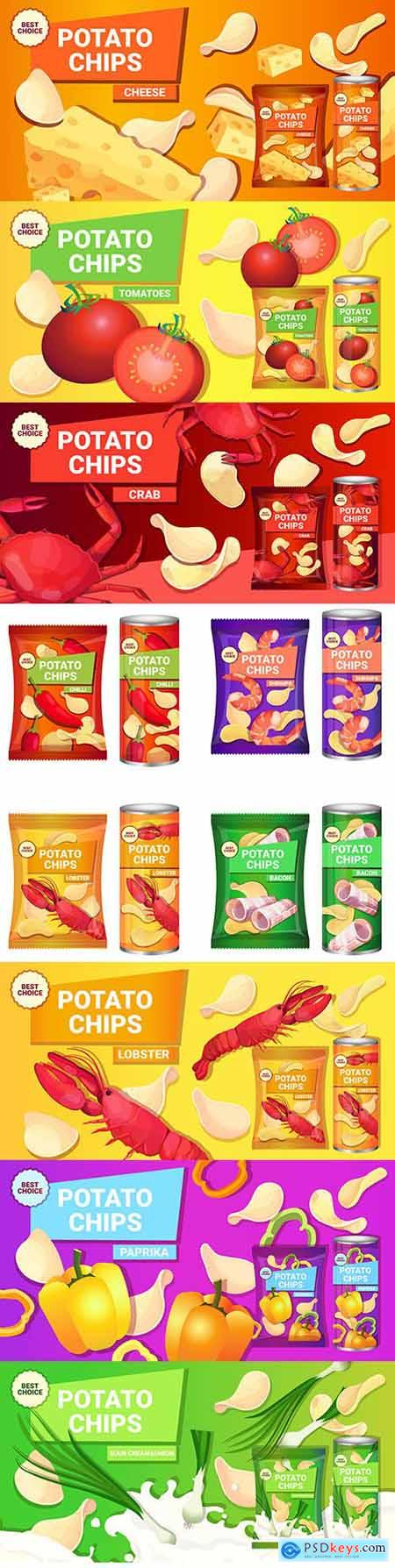Potato chips brand packaging different tastes design template
