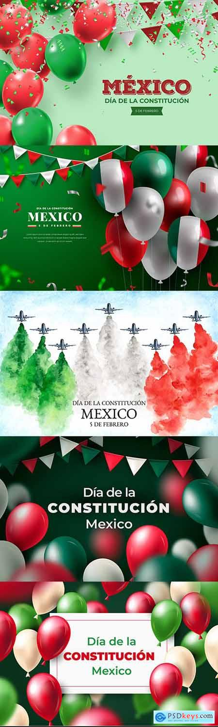 Mexico constitution day with realistic balloons illustrations