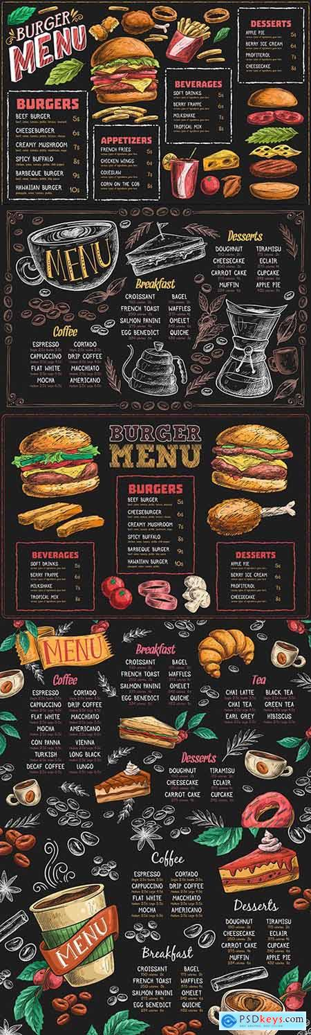 Burger menu and fragrant coffee painted design template