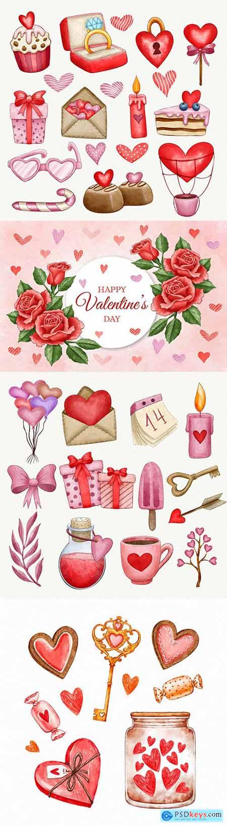 Watercolor Valentines Day background and decorative elements