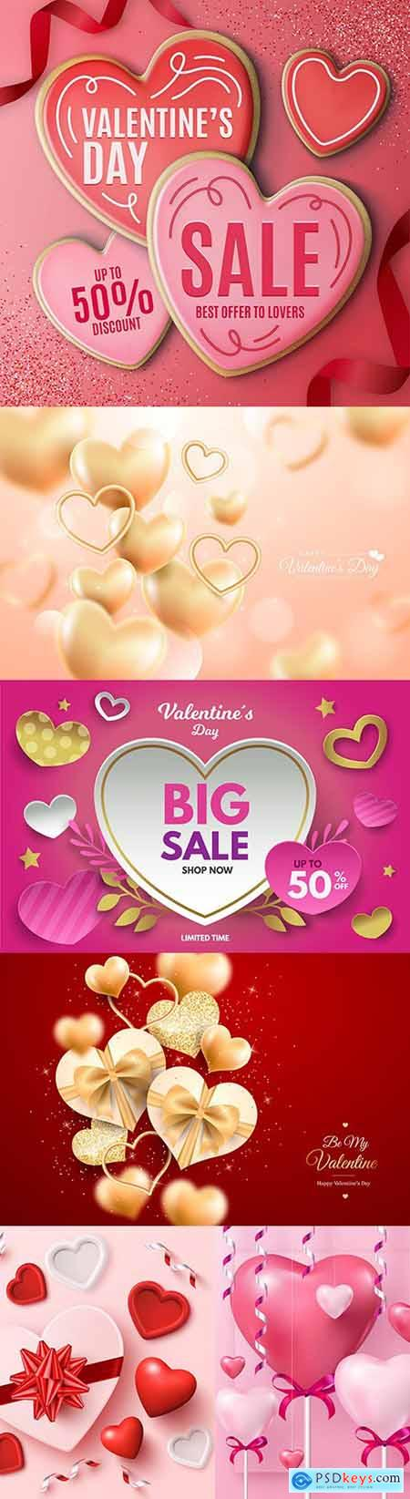 Valentines Day sale and background with heart of gold