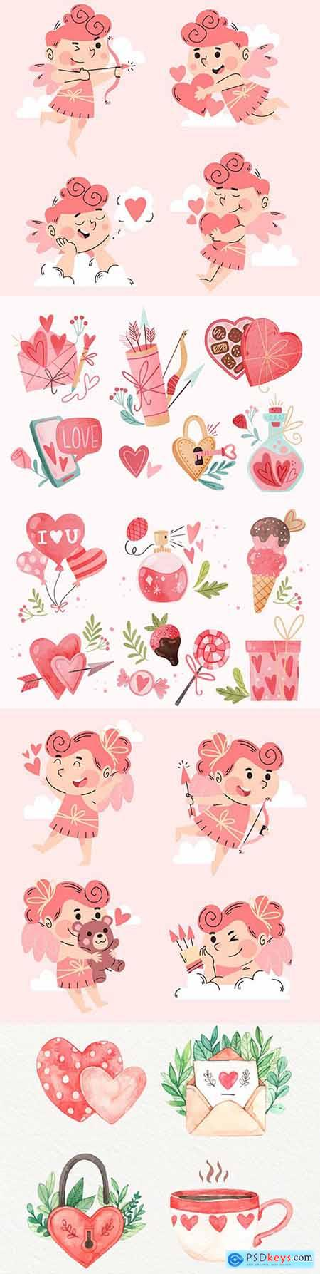 Valentines Day romantic cupid and watercolor elements for design